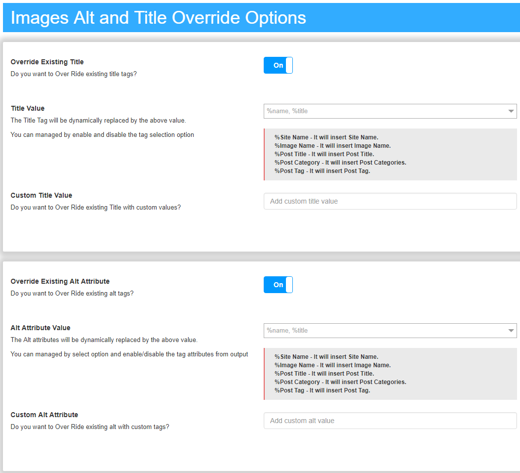 Images Alt and Title Override Options