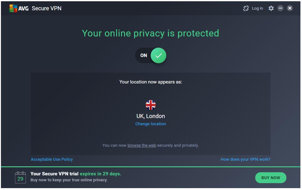 AVG Secure VPN kết nối thành công