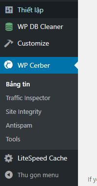 Cài đặt WP Cerber Security, Antispam & Malware Scan