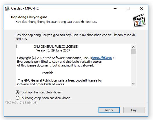 Chấp nhận điều khoản MPC-HC