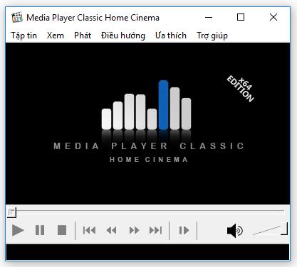 Giao diện phần mềm MPC-HC