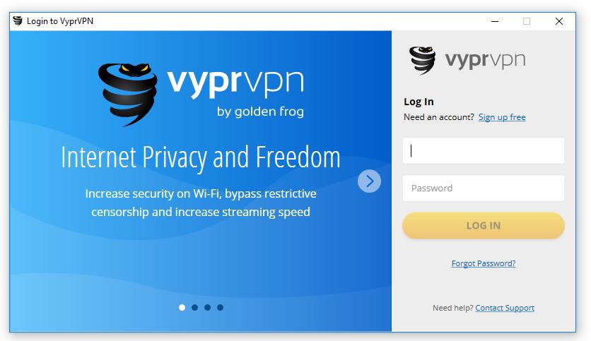 Giao diện phần mềm VyprVPN