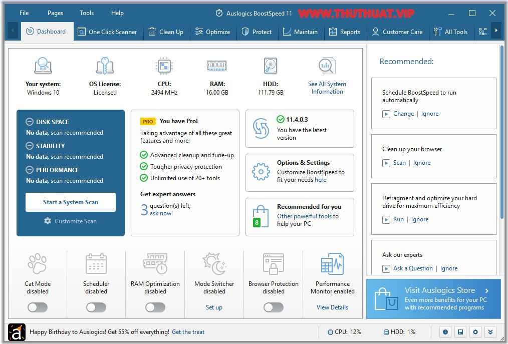 Key phần mềm chăm sóc máy tính Auslogics BoostSpeed 11 Pro