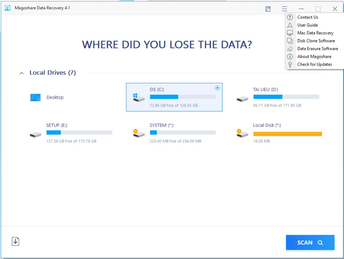 Khôi phục dữ liệu với Magoshare Data Recovery
