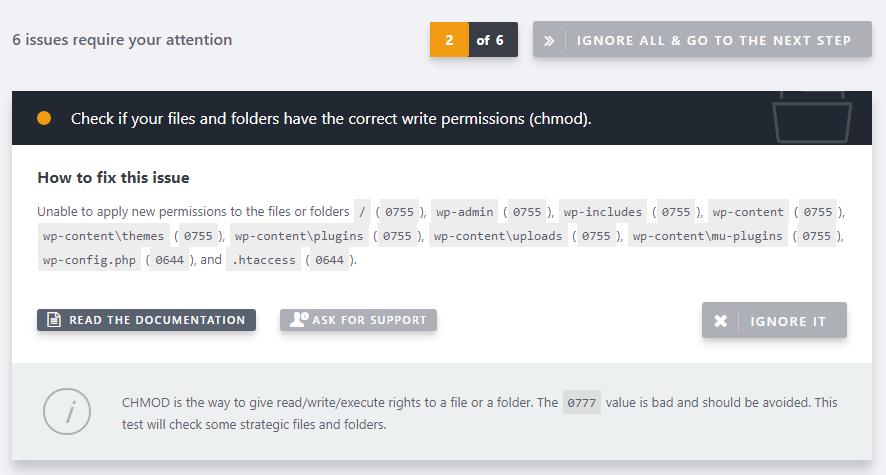 permissions file wordpress