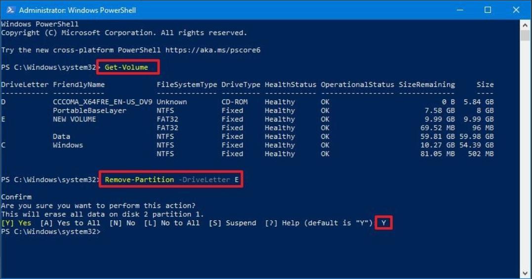 Cách xóa phân vùng ổ đĩa bằng PowerShell