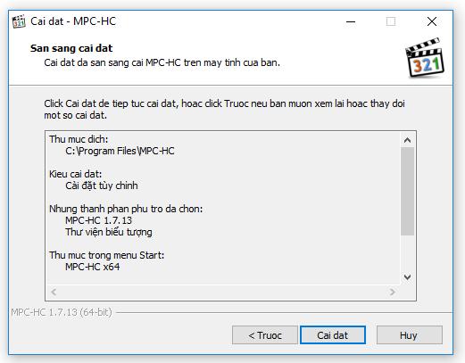 Sẵn sàng cài đặt MPC-HC
