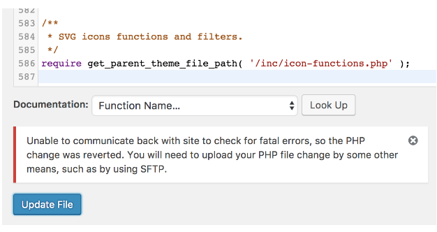 Sửa lỗi không thể update file trong appearance editor từ WordPress 4.9