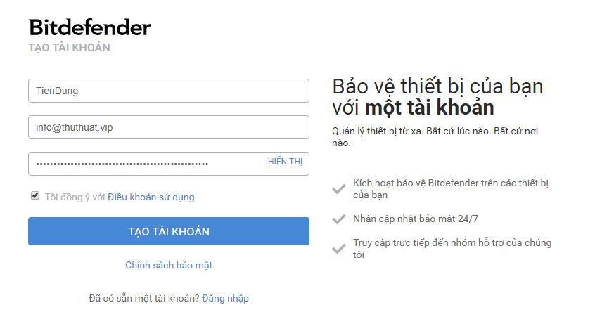 Tạo tài khoản Bitdefender