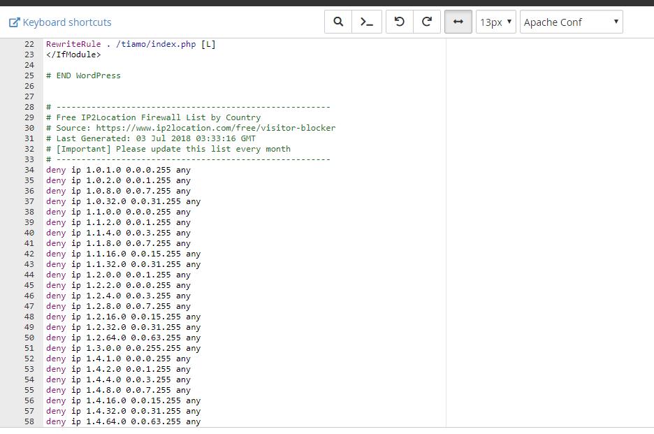 Thay đổi file .htaccess cpanel