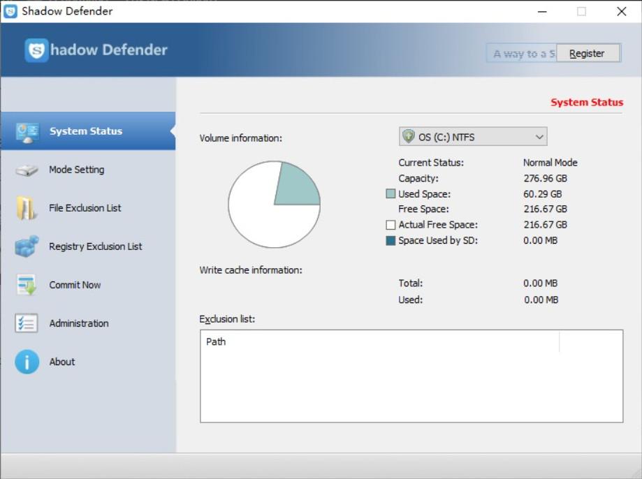 Đóng băng ổ cứng với Shadow Defender